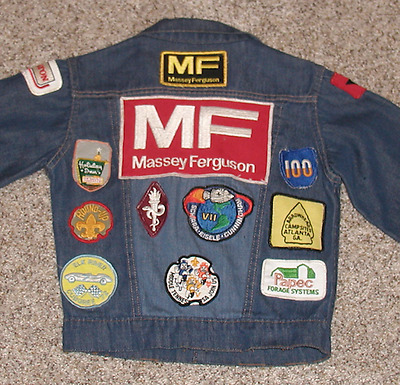 Vintage 1970s Kids Jean Jacket with Patches Massey Ferguson/Cub Scouts/NASA