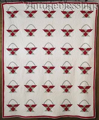 """Classic ANTIQUE c1880 Red & Green Basket QUILT  Beautiful Quilting 76x63"""""""