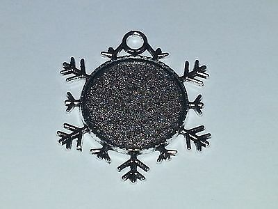1pc. Snowflake Silver Color 25MM Cabochon Setting Pendant & Clear Cabochon DIY