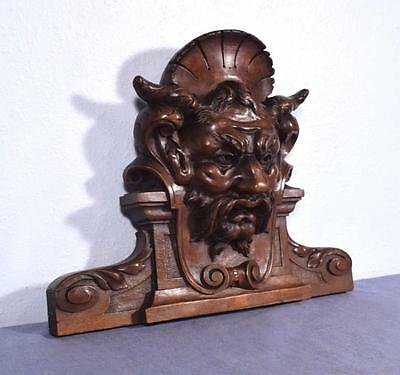 """*15"""" French Antique Pediment/Crest in Walnut Wood with Mephistopheles"""
