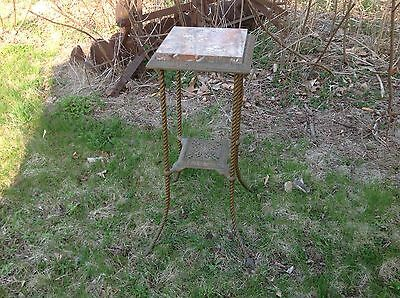 Vintage Marble Top Iron Bronzed Brass Plant Stand Table Ornate Original