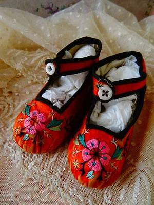 A Charming Pair Of Victorian Hand embroidered Childs Shoes C.1900