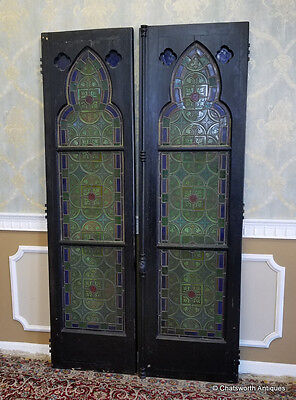 Pr Antique Religious Gothic Revival Stained Glass Window Doors w/ Silver Overlay