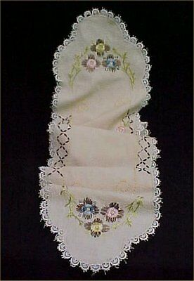 "Vintage Antique Hand Silk Embroidered Dresser Scarf Runner 11x60"" Victorian Era"