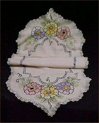 "Vintage Antique Hand Silk Embroidered Dresser Scarf Runner 20x44"" Victorian Era"