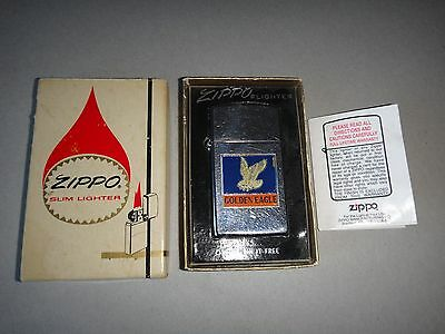 Year 1962 High Polished Zippo Slim Lighter US Navy Aviators GOLDEN EAGLE + Box
