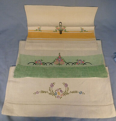 Lot of 3 Vintage Linen Hand Embroidered Hand or Dish Towels