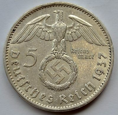 5 Mark 1937 A Third Reich Nazi Germany Silver coin