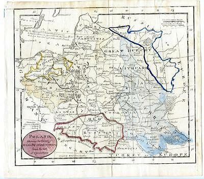 1780 Copper Engraving Guthrie Hand Colored Map Poland Claims of Russia Prussia
