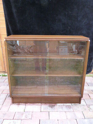 Lovely Vintage Mid Century G Plan Sloping Glass Fronted Adjustable Bookcase.(2)