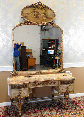 Antique Painted Marble Top Adam's Style Dressing Table Vanity w/ Large Mirror