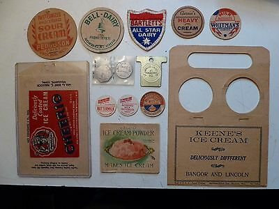 Vintage Dairy Bottle Caps , Patch , Dairy Coins ,Ice Cream Wrapper and Book