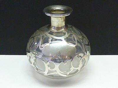 Art Nouveau Swirl Sterling Silver Overlay Crystal Perfume Bottle 4.25""