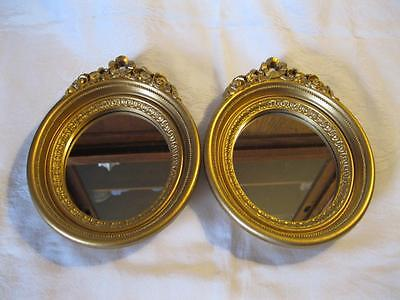 Pair Of Vintage Home Interior HOMCO Ornate Mirrors Oval With Gold Framed 7x8 3/4