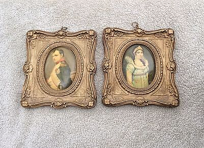 """Antique Wood And Gesso  Picture Frames Bonaparte And Josephine On Celluloid 4"""""""