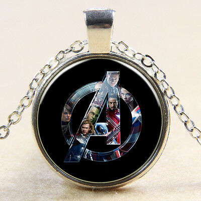 Avengers Age of Ultron Glass Dome Art Pendant Chain Superhero Necklace Gift