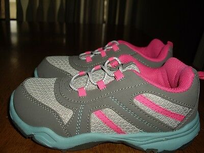 NEW Little Girls Size 12 Carter's Slip On Sneakers Tennis Shoes Gray Pink Blue