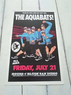 """THE AQUABATS Concert Poster San Diego House of Blues 11""""x17"""""""