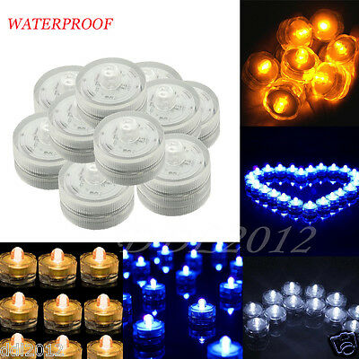 24pc Submersible LED Light Waterproof Wedding Party Decor Battery Sub Tea Lights
