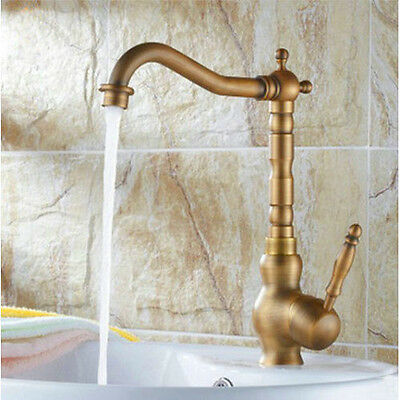 Antique Single Handle Kitchen Bathroom Sink Faucet Swivel Mixer Tap Brass Finish