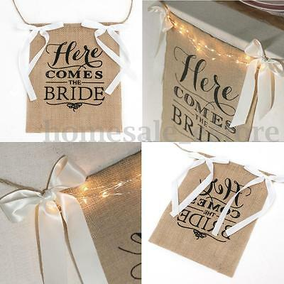 """""""Here Comes The Bride"""" Burlap Bunting Banner Sign Rustic Wedding Party Boy Decor"""