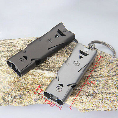 High Quality Outdoor Survival High Frequency Double Tube Whistle Key Ring CA