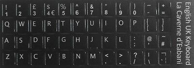 English (UK) Keyboard Stickers White Letters Non Transparent