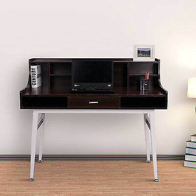 Wooden Computer Desk Workstation Table Storage Shelves Home Office Furniture