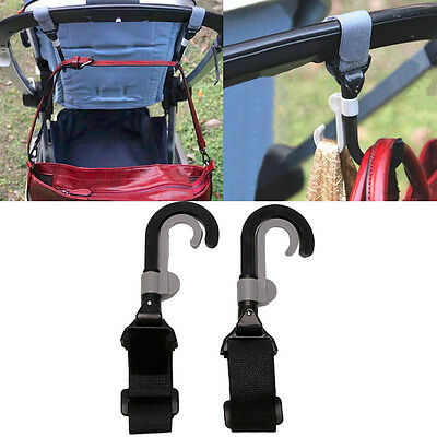 2pcs Rotate 2 Hook Shopping Bag Hanger Baby Pram Buggy Stroller Pushchair