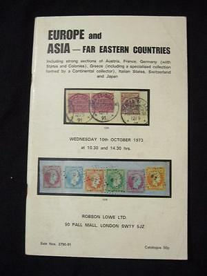 Robson Lowe Auction Catalogue 1973 Europe & Asia Far Eastern Countries