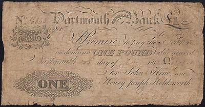 1818 DARTMOUTH GENERAL BANK £1 BANKNOTE * 6843 * G+ * Outing 639a *