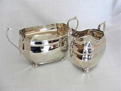 Stylish, Solid Silver Cream Jug & Sugar Bowl Set – Chester 1928