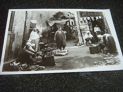 Vintage Black And White Arab Men In A Street Market Photo Postcard Old Antique