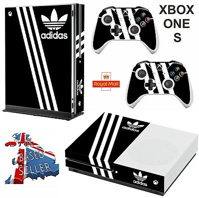 ADIDAS BLACK & WHITE xbox one S skins decals stickers +  2 controllers game