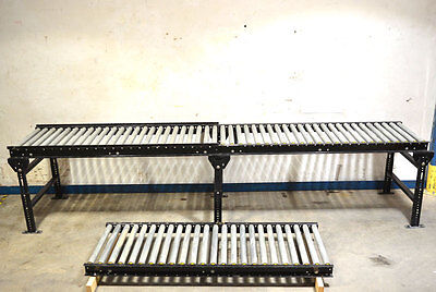 "3-Section InterRoll 24""W 18'L Gravity Roller Conveyor + 3-Leg Supports 32""-Ht"