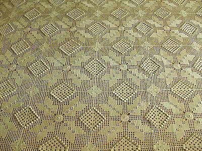 "BEAUTIFUL VINTAGE 90""x100"" HAND CROCHETED ECRU COTTON BED COVER ~ DOUBLE OR FULL"