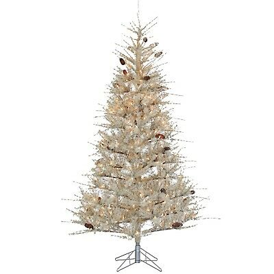 7 hard needle sage frosted pre lit christmas tree 400 clear lights and stand