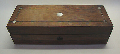 Antique rosewood glove box with mother of pearl inlay