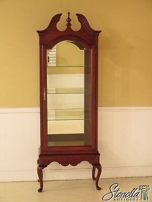 42038E: Queen Anne Solid Cherry Lighted Curio Display Cabinet