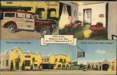 Route 66 Oklahoma City OK Park-O-Tell Linen Roadside Postcard