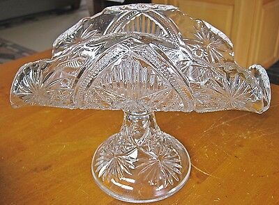 Vintage EAPG Early American Pattern Glass Folded Banana Boat Compote Pedestal