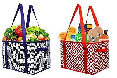 Earthwise Deluxe Collapsible Reusable Shopping Box Grocery Bag Set with Bottom 2