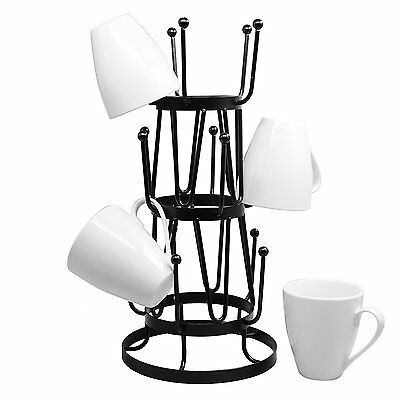 Stylish Steel Mug Tree Holder Organizer Rack Stand Black