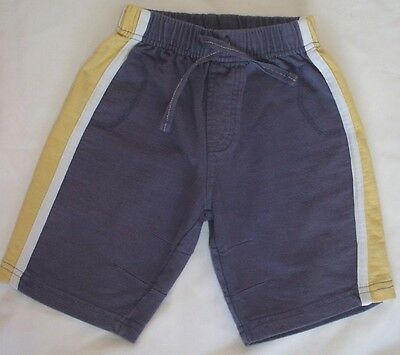 Baby boys blue cotton trousers with lemon & white stripes, MOTHERCARE, 9-12 mths