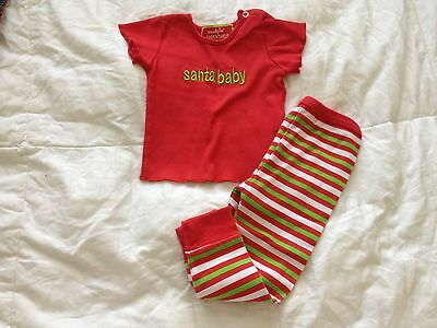 Mudpie santa baby girl or boy pajama 0-6 months old
