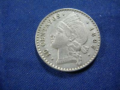 DOMINICAN REPUBLIC - 1897A silver 10 Centavos  - uncleaned original XF