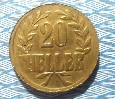 GERMAN EAST AFRICA - 1916T brass 20 Heller - Obverse B and reverse B - XF nicks