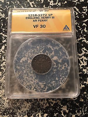 (1216-1272) Great Britain England Silver Penny Henry III ANACS VF30 Lot#G178