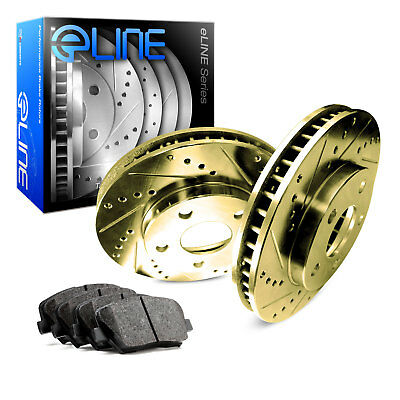 Rear Eline Series Gold Drilled and Slotted Brake Rotors + Ceramic Pads A12678