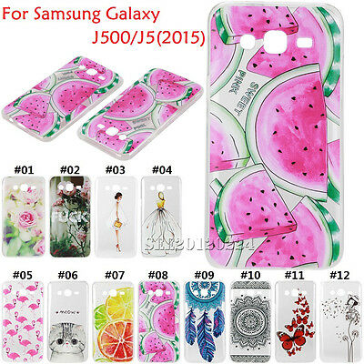 Clear Pattern Soft TPU Silicone Slim Case Cover For Samsung Galaxy J500/J5(2015)